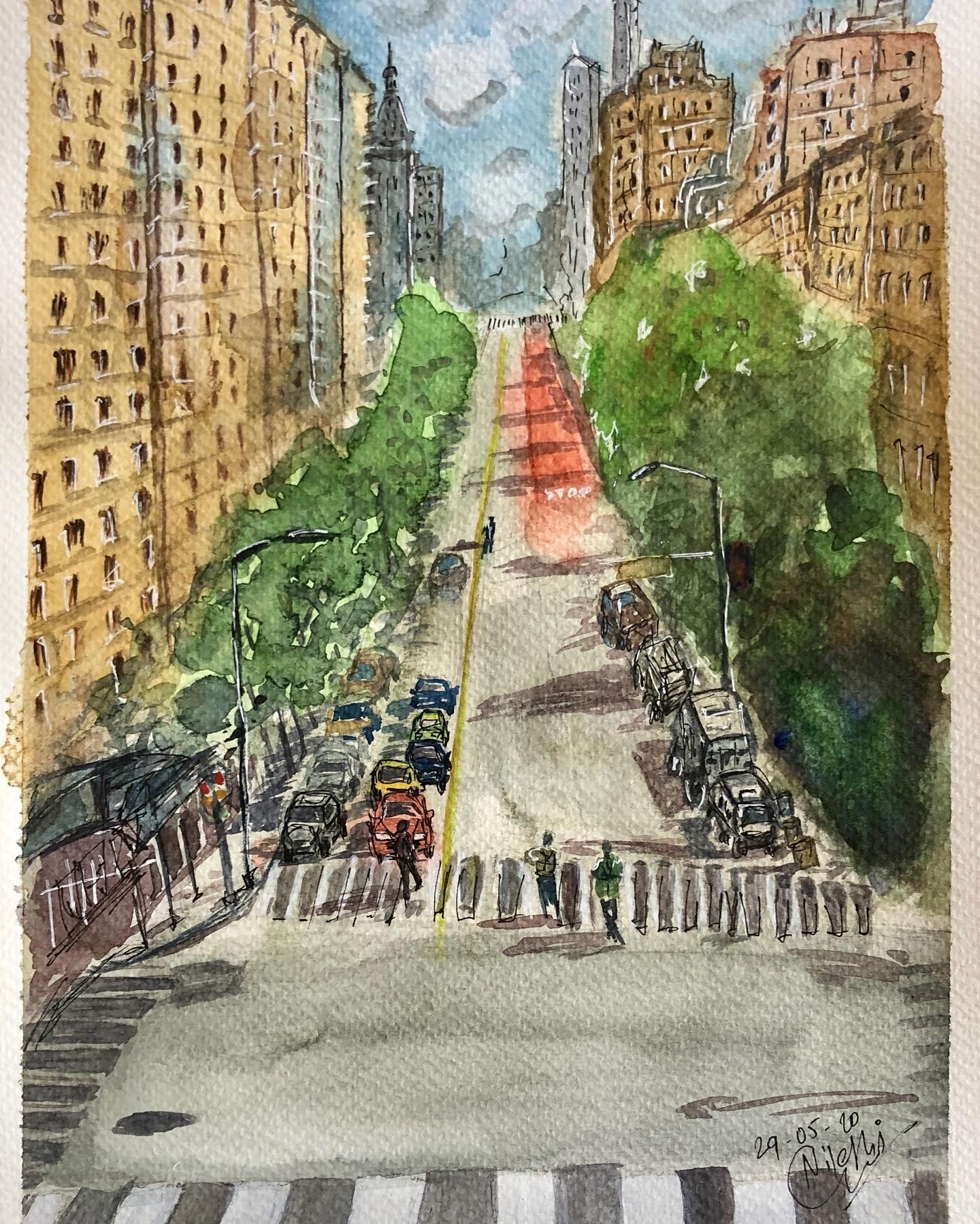 cityscape in watercolor #cityscapepainting #watercolorpainting #cityscape