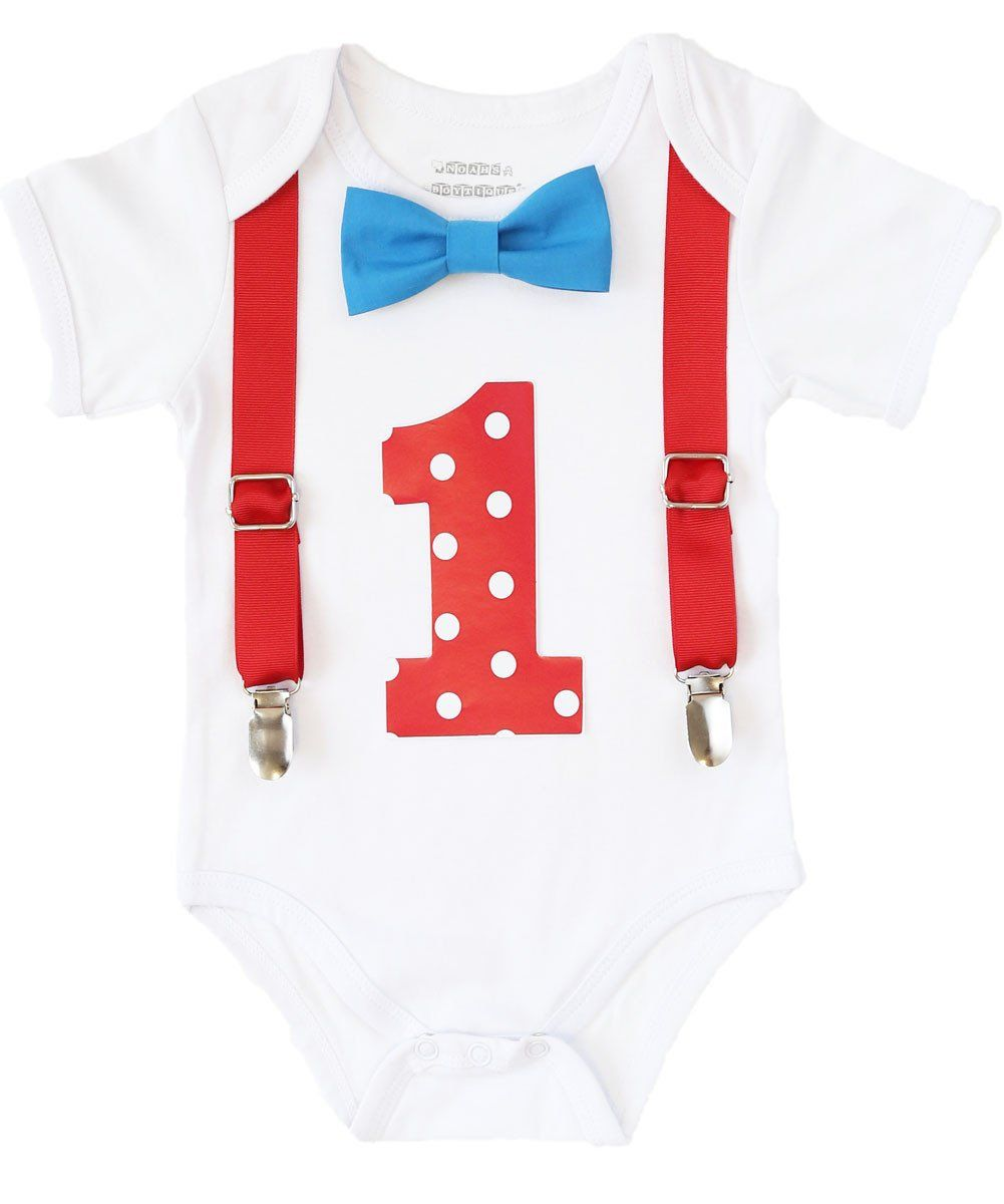 First Birthday Blue and Red Outfit Boy Baby Boy Polka