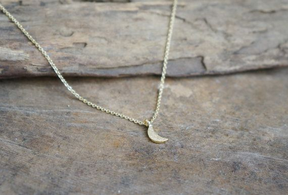 Crescent  Half Moon Charm Necklace in Gold Plated by arassijewelry, $17.50
