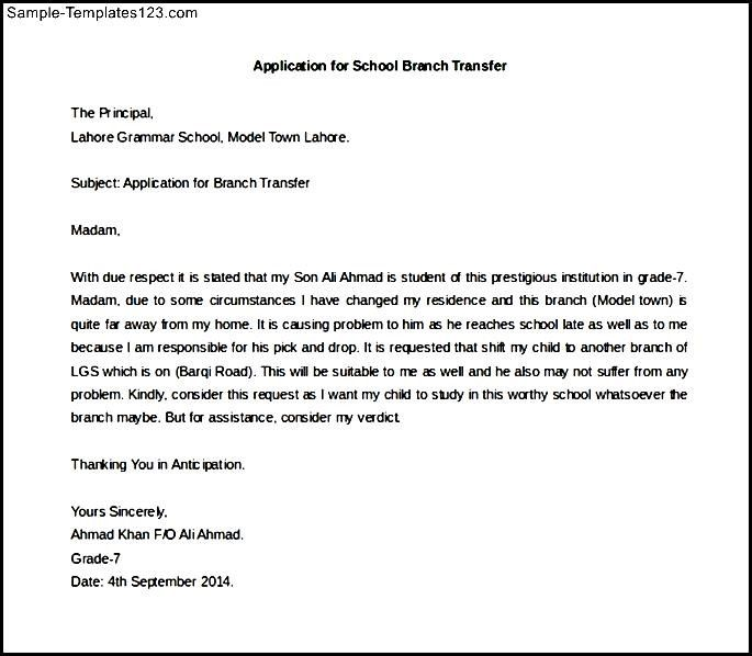 Application Letter for School Branch Transfer Sample Sample - national letter of intent
