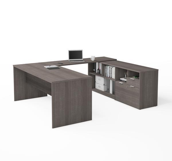 U Shaped Bark Grey Office Desk And Credenza Bestar Desk Executive Desk