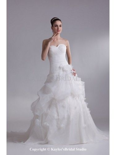 Organza Sweetheart Floor Length A-line Ruched Wedding Dress