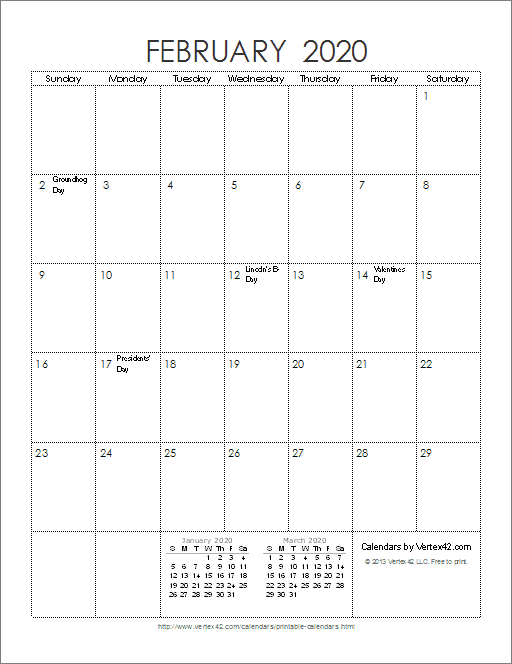 Free Printable 2020 Monthly Calendar.Download The 2020 Ink Saver Calendar Portrait From Vertex42 Com
