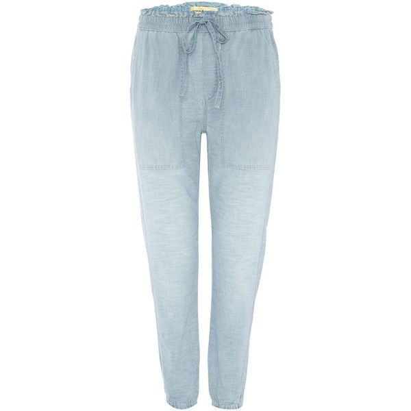 Denim and Supply Ralph Lauren Wesley chambray cotton jogger ($145) ❤ liked on Polyvore featuring activewear, activewear pants, chambray and women
