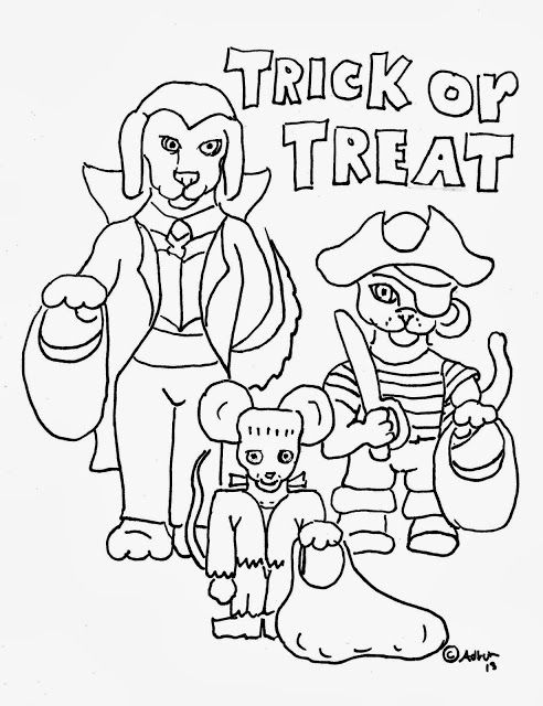 Coloring Pages for Kids by Mr. Adron: Free Trick or Treat Coloring ...
