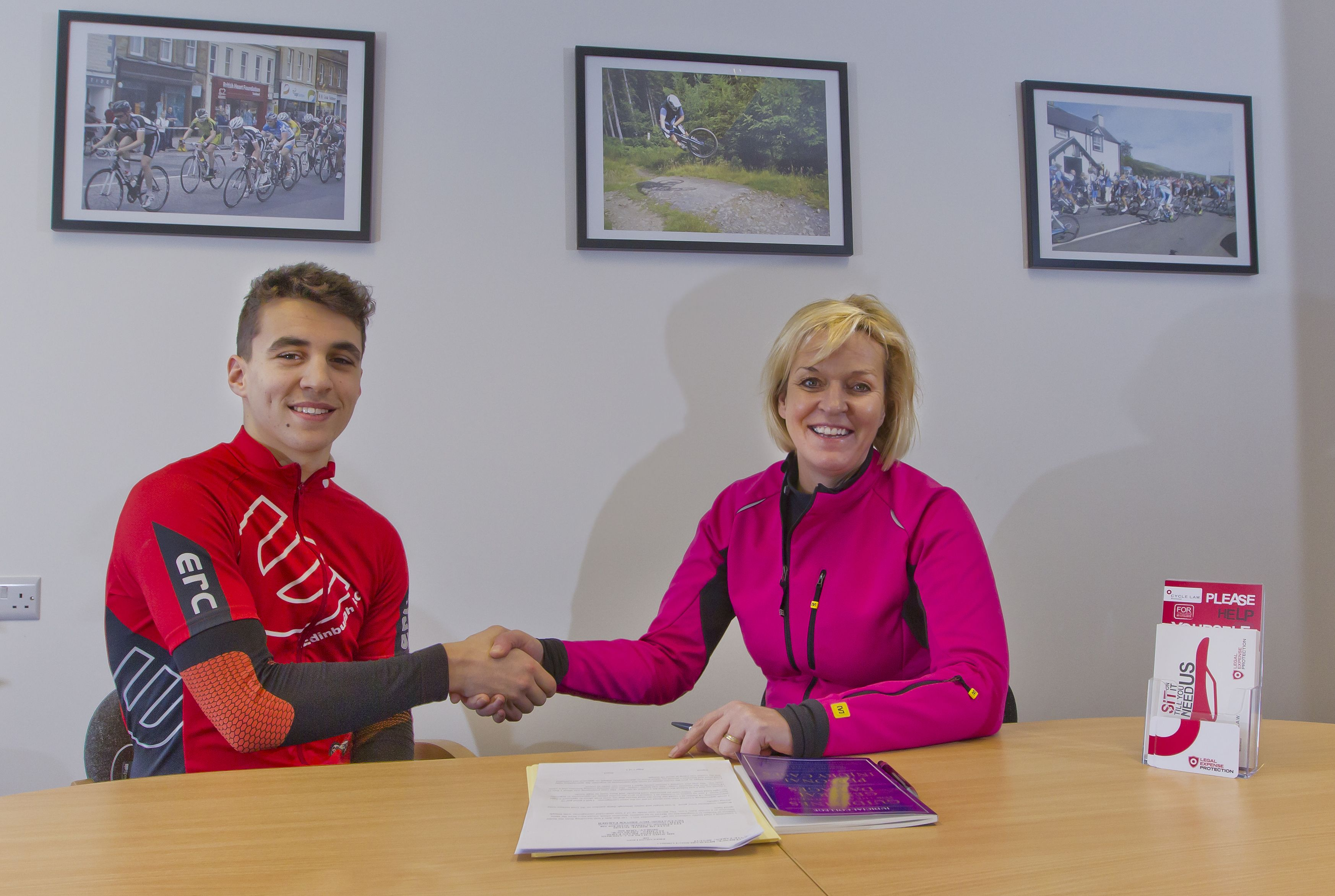Brenda Mitchell, specialist cycling lawyer, meets new sponsored rider for 2014, Alex Kinsley.
