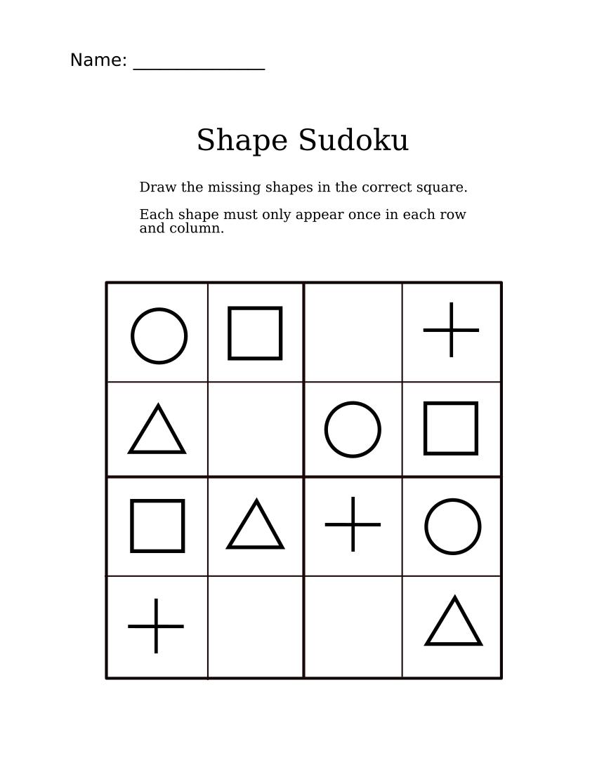 Easy Shapes Sudoku For Kindergarteners Shape Worksheets For Preschool Fun Math Worksheets Tracing Worksheets Preschool