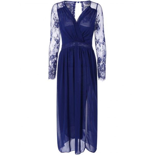 24.6$  Watch now - http://dikor.justgood.pw/go.php?t=196024204 - Lace Splicing Chiffon Maxi Dress