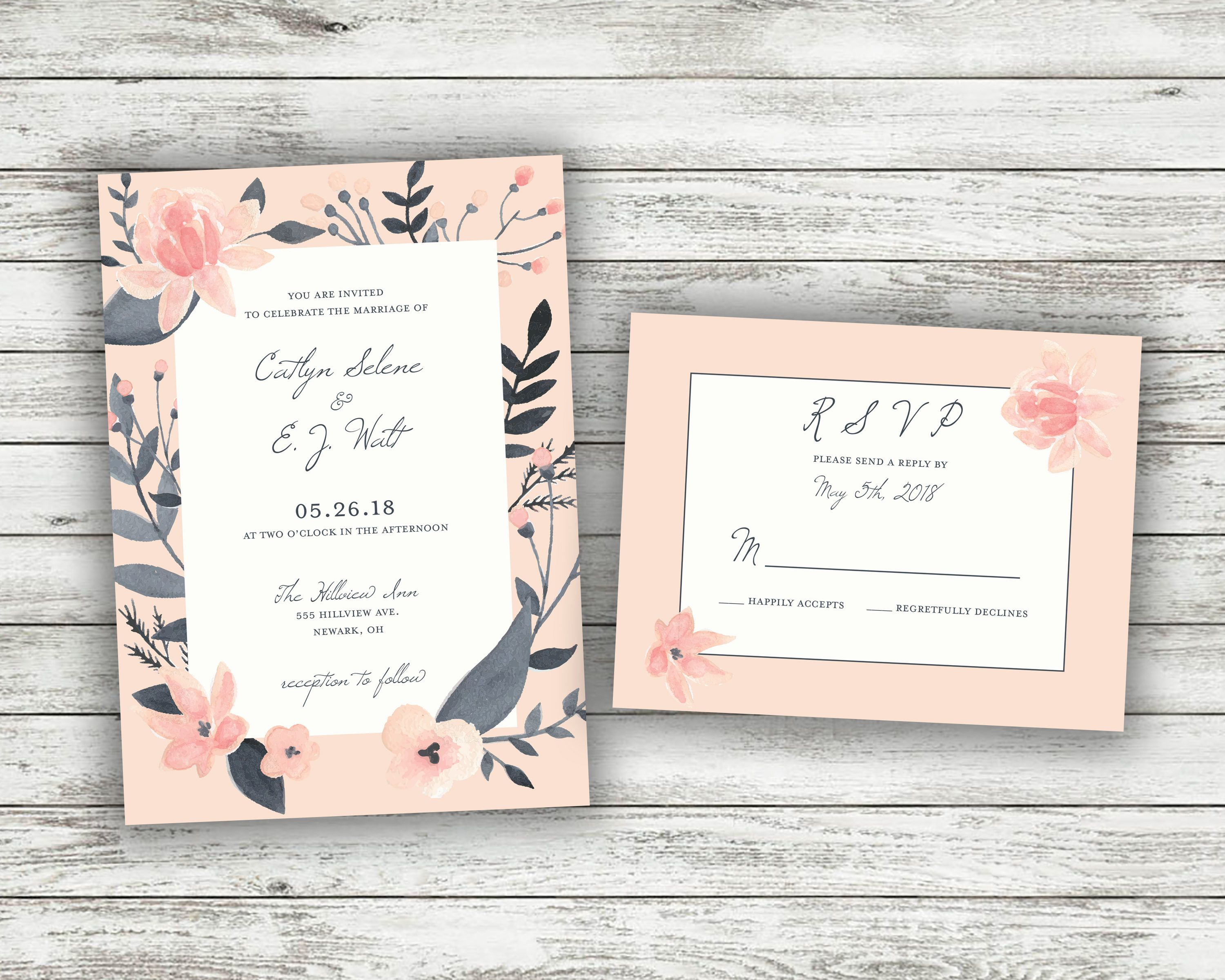 Floral Wedding Invitation Printed Set Succulent Wedding Etsy Inexpensive Wedding Invitations Printing Wedding Invitations Wedding Invitations