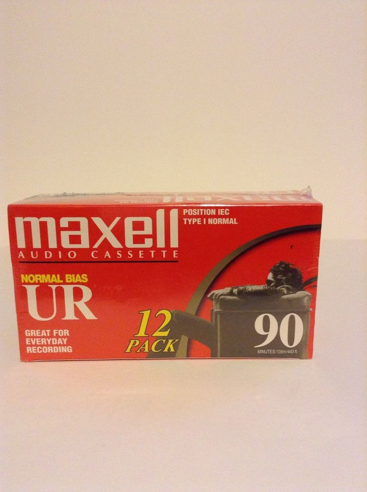 NIP Sealed Maxell Ur-90 Blank Audio 12 Pack Normal Bias Cassette Tapes Record #Maxell