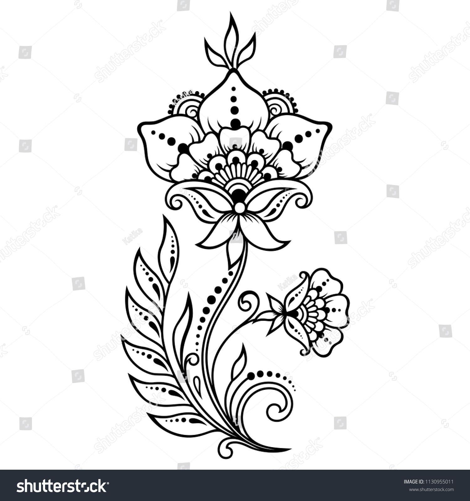 Стоковая векторная графика «Mehndi Flower Pattern Henna Drawing Tattoo» (без лицензионных платежей), 1130955011