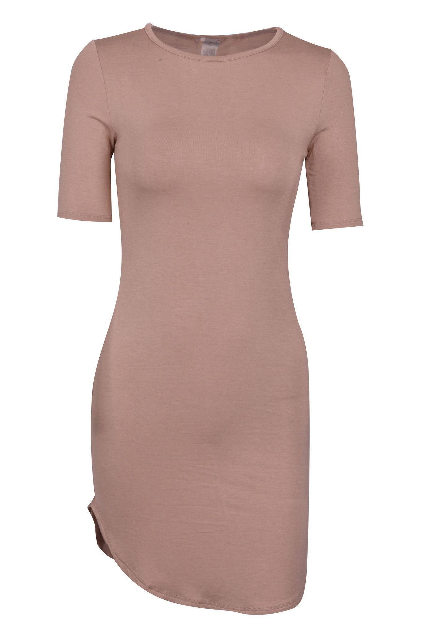 Sexy Round Neck 3/4 Sleeve Crescent Hem Bodycon Mini Dress