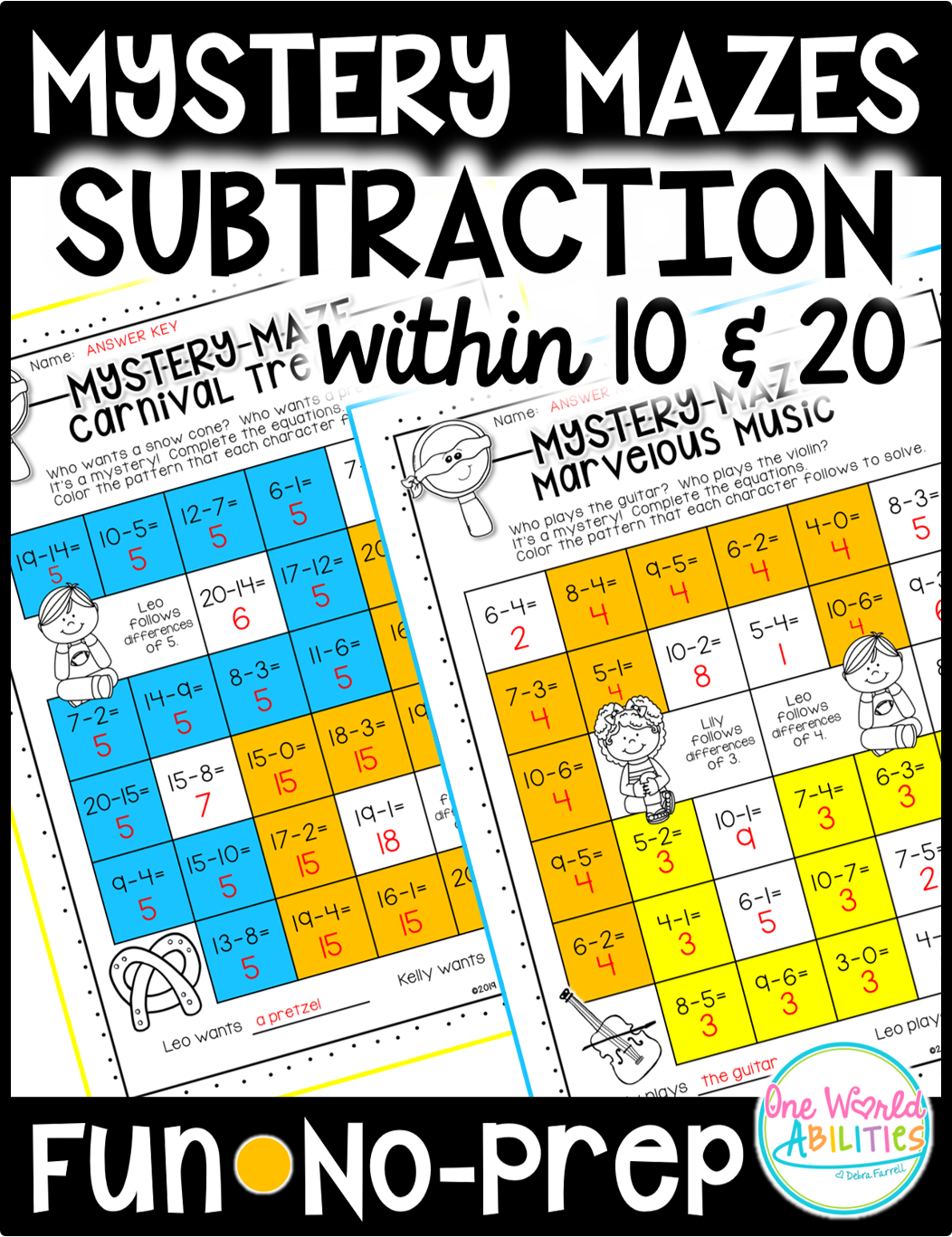 Mystery Math Mazes Subtraction Within 10 Amp Within 20 No