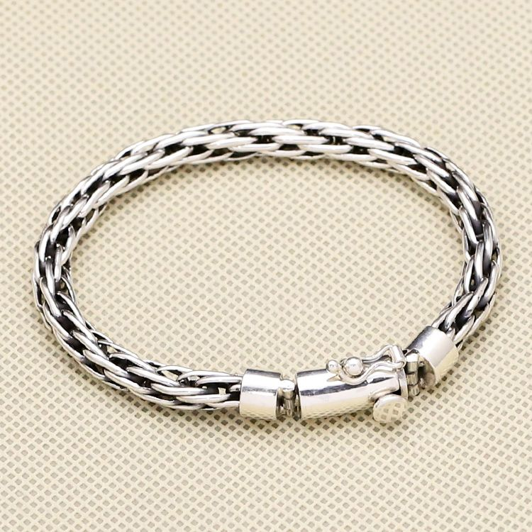 4a7b5d6d19834 100% Solid Sterling Silver 925 Interlock Weave Link Band Bracelet Men  Simple Brief Design Fashion