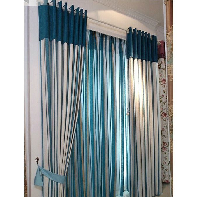 Superior Blue And White Chenille Striped Curtains