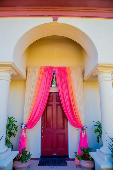Image result for metallic tulle front entrance decoration indian this at home indian wedding decoration with draping fabric on the front door is perfect to welcome guests to your home for a pre wedding indian event junglespirit Images