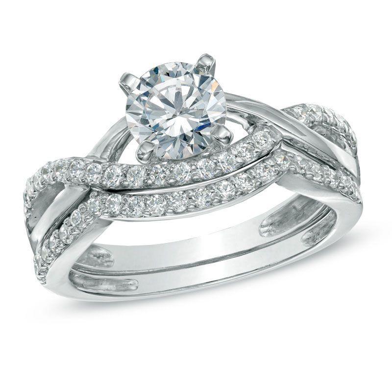 3e59f445c9dc18 T.W. Certified Canadian Diamond Split Shank Bridal Set in 14K White Gold -  Peoples Jewellers