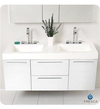 Fresca Opulento White Modern Double Sink Bathroom Vanity W