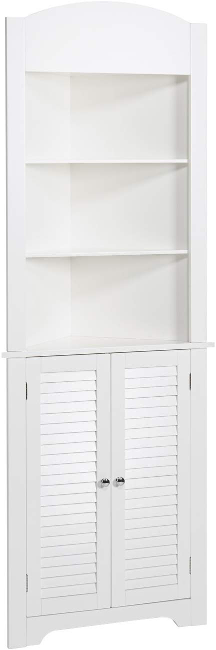 Convenient Corner Design With Two Door Shutter Styling In A Tall Cupboard Includes Three Open Shelves On Top For Additional Storag In 2020 Tall Corner Cabinet Open Shelving Shelves