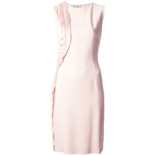 Stella McCartney Contrast Panel Shift Dress (£310) ❤ liked on Polyvore featuring dresses, straight dress, pink knee length dress, light pink shift dress, pink dress and knee length shift dress