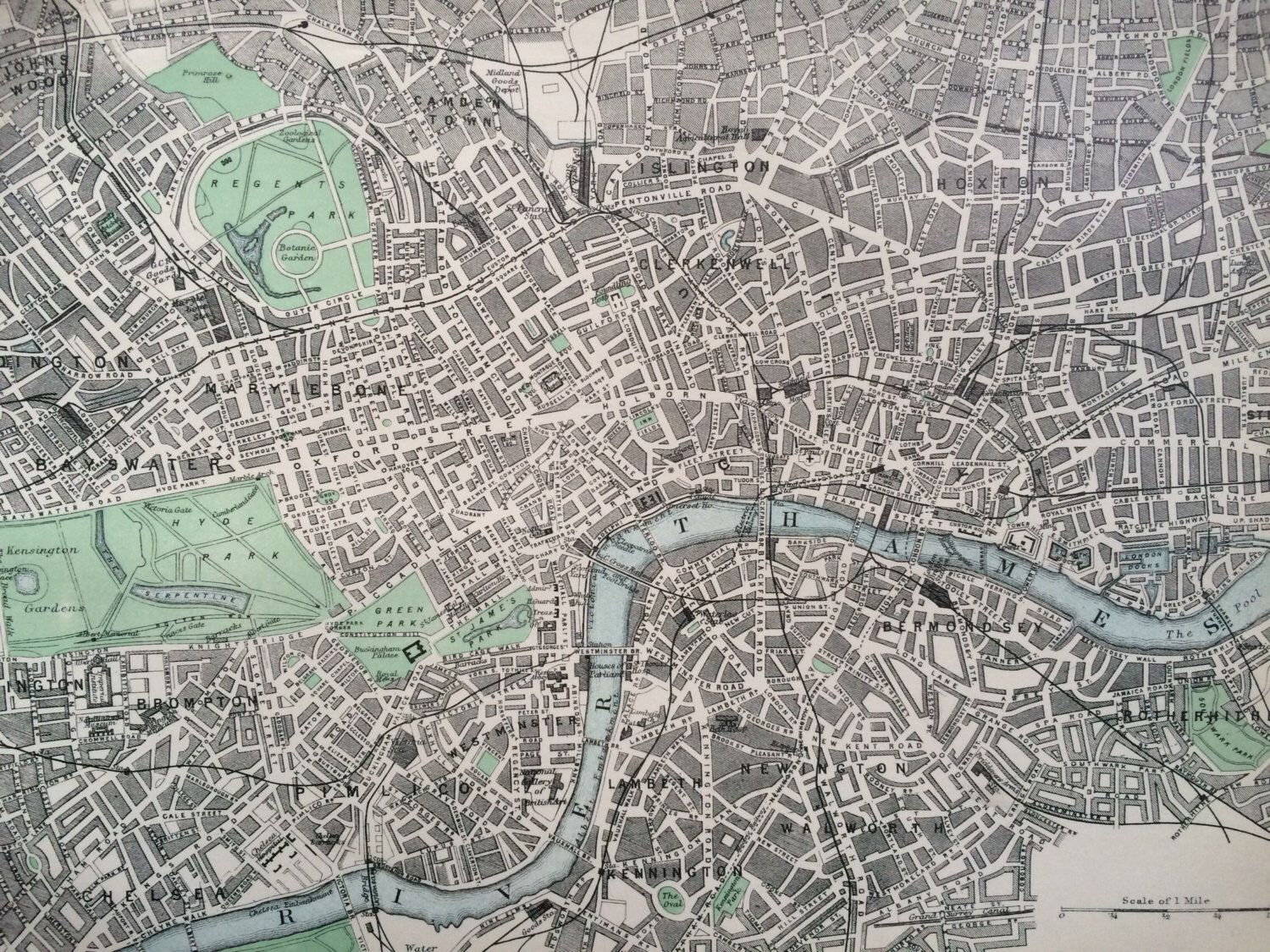 1875 CENTRAL LONDON original antique map cartography