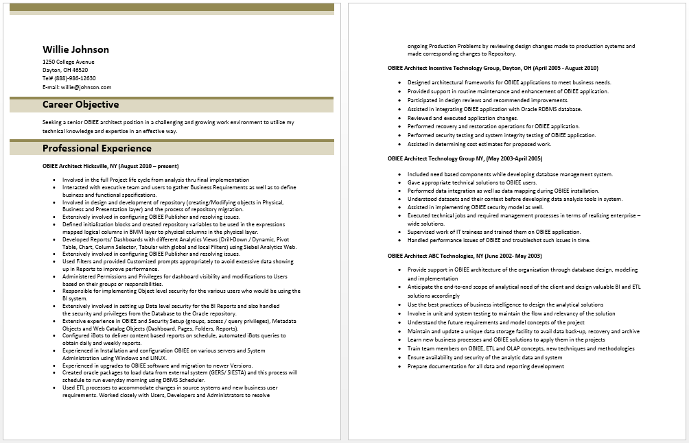 Obiee Architect Resume Sample Resume Template Architect Resume Sample Architect Resume Sample Resume Templates