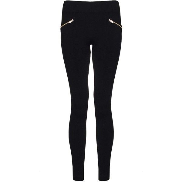 d0e3b26c2c231c Dorothy Perkins **Quiz Fleece Lined Leggings ($17) ❤ liked on Polyvore  featuring pants, leggings, black, zipper leggings, legging pants, zipper  pants, ...