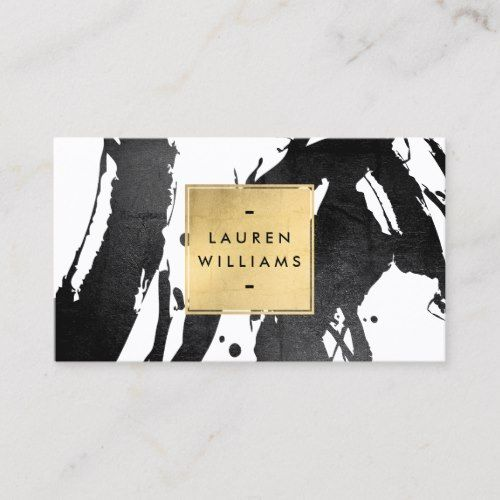 Abstract Black Brushstrokes with Faux Gold Foil Business Card | Zazzle.com