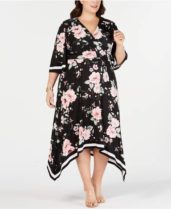 I.n.c. Plus Size Floral Kimono Midi Dress, Created for Macy\'s - All ...