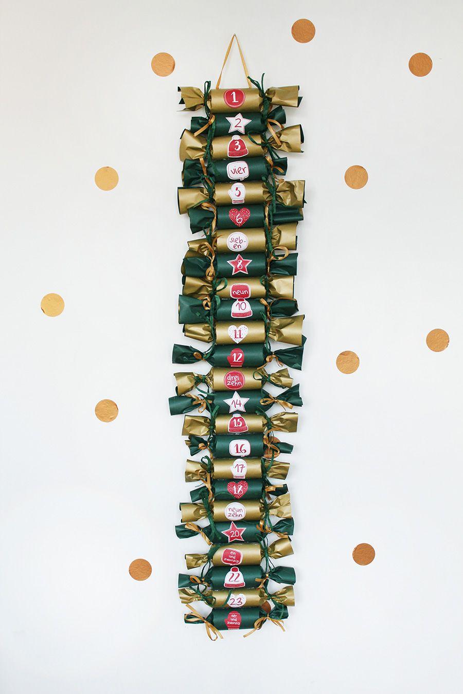 Idee für Adventskalender mit Klopapierrollen - kre