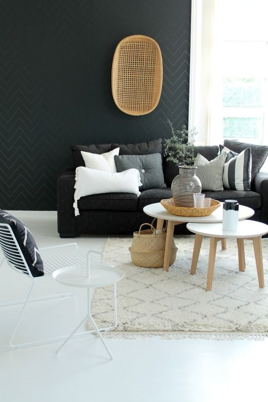 Noir, blanc et bois naturel | Déco salon, Idee deco, Deco