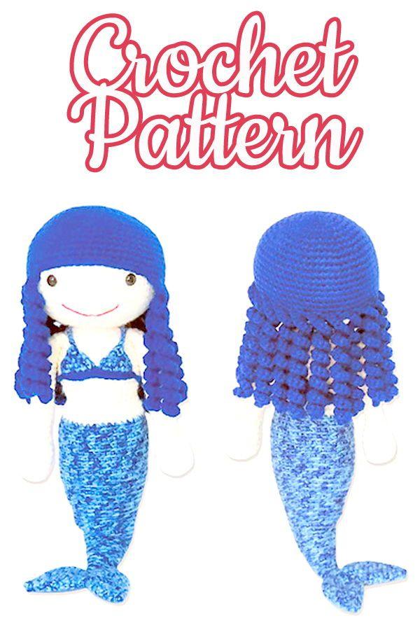 mermaid doll Crochet pattern, Amigurumi mermaid doll, Doll amigurumi ...