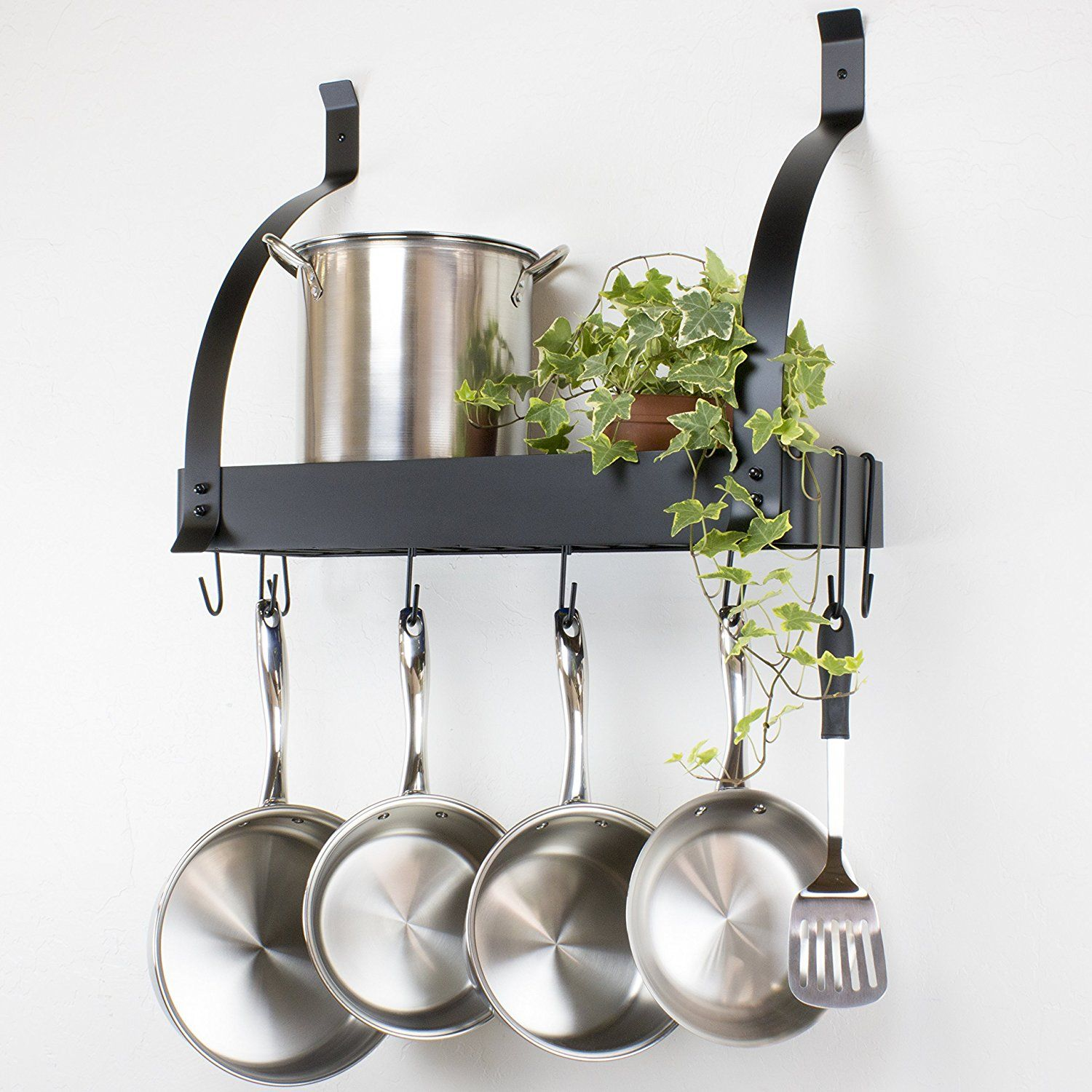 $45 Amazon Contour Essentials Stainless Steel Wall Mounted Endearing Kitchen Pot Rack Design Decoration