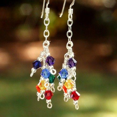 Chakra Rainbow Swarovski Sterling Cluster Earrings Handmade Sparkly