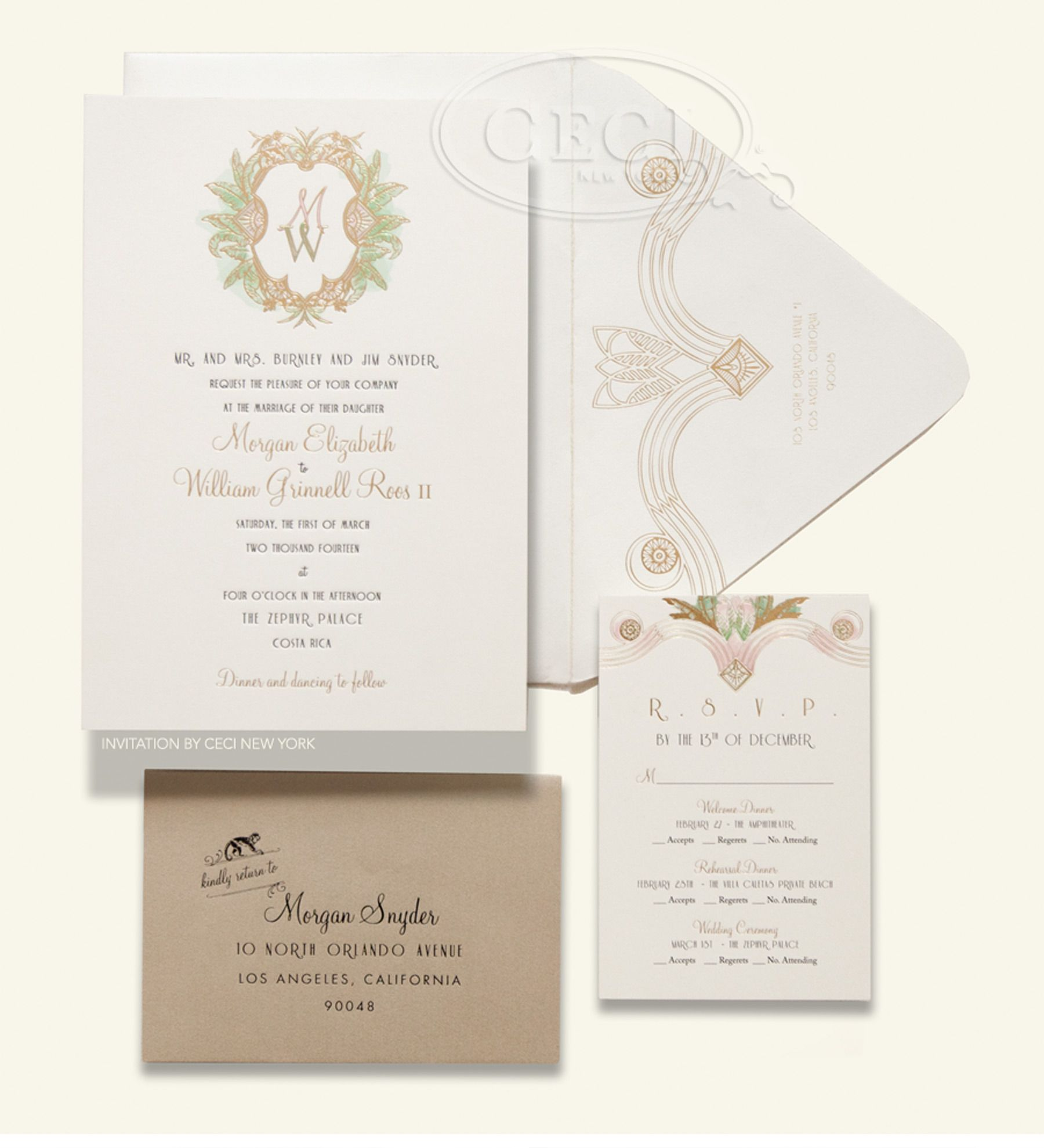 Luxury Wedding Invitations by Ceci New York - Our Muse - Green and ...