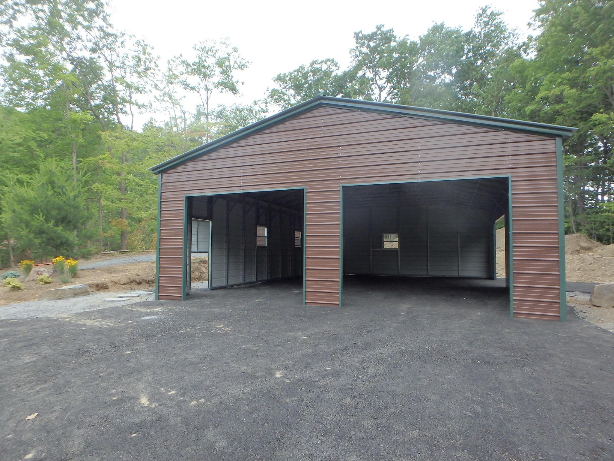 26 X 41 X 11 Vertical Roof Style Metal Workshop Building Features With 2 10x8 Roll Up Doors On Front End Wall 1 8x8 Roof Styles Metal Workshop Building
