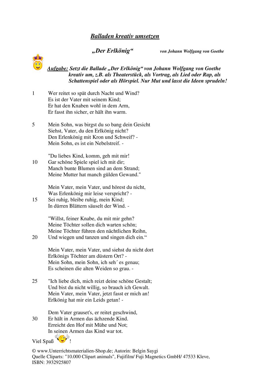 Inszenierung Kreative Umsetzung Von Goethe Von Goethe Johann Wolfgang Von Goethe Der Erlkonig