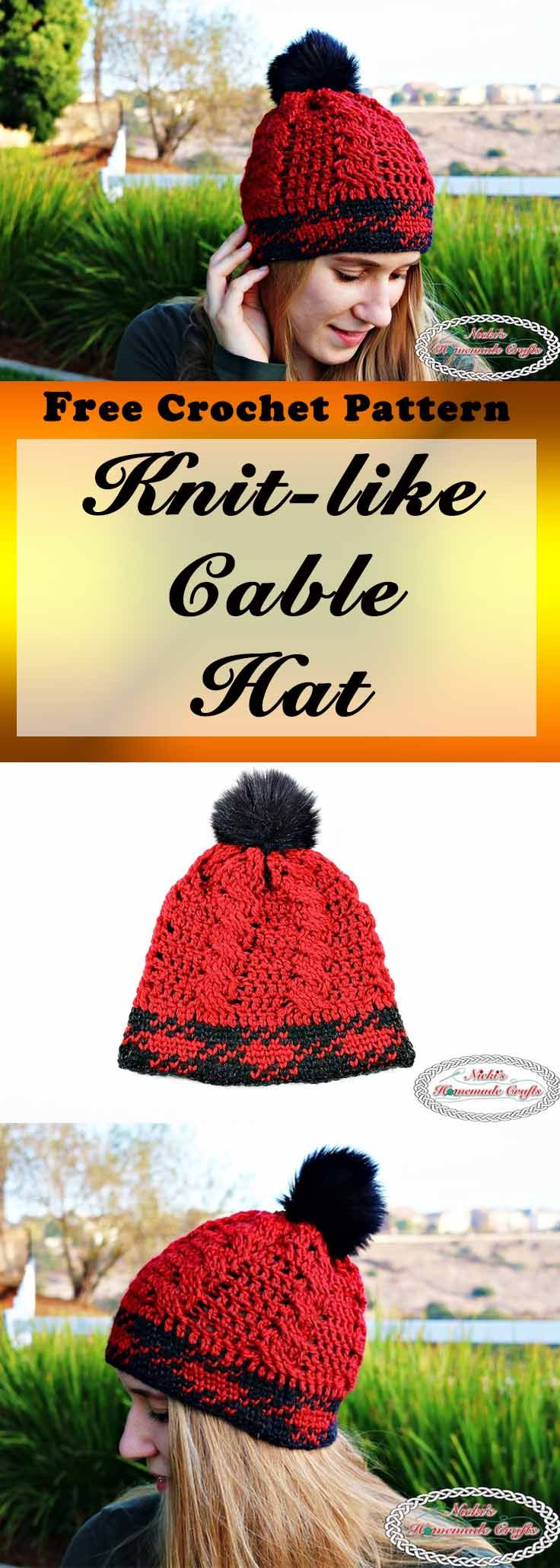 Knit-like Cable Hat Free Crochet Pattern by Nicki\'s Homemade Crafts ...