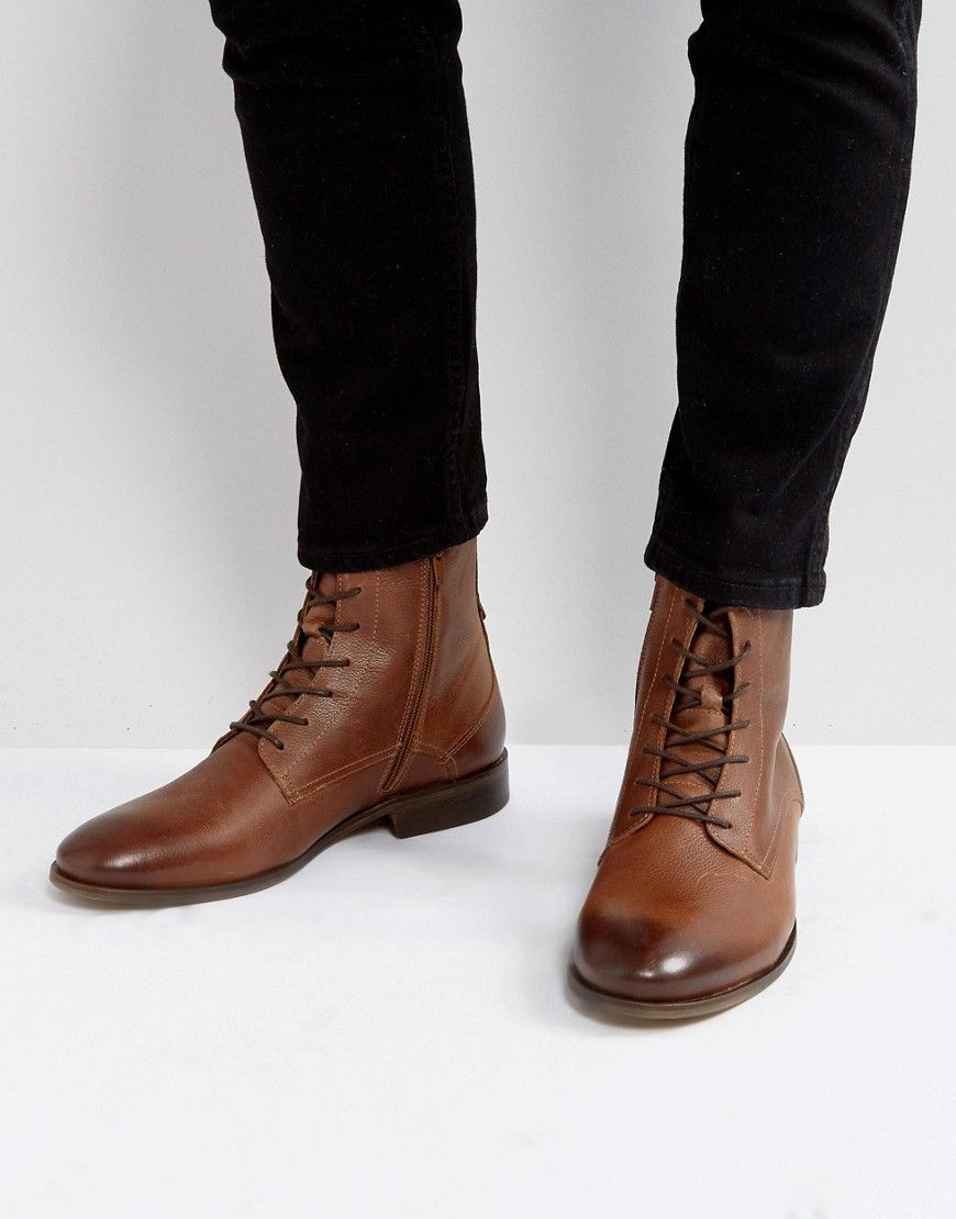 Leather Smooth Lace Up Boots - Brown Zign Shoes hSUW08vf