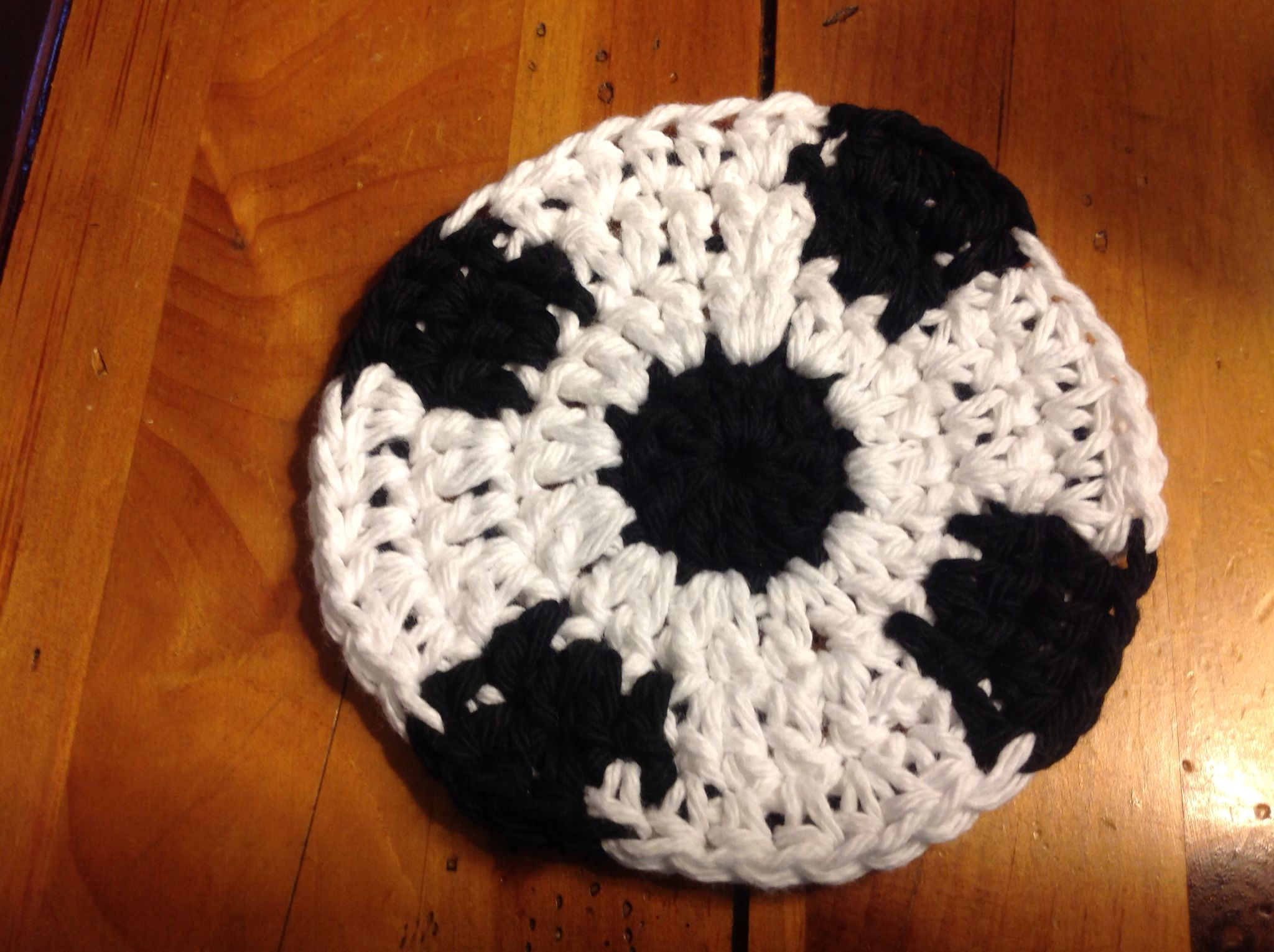 Soccer ball coaster I crocheted. Pattern found on Ravelry. Free ...