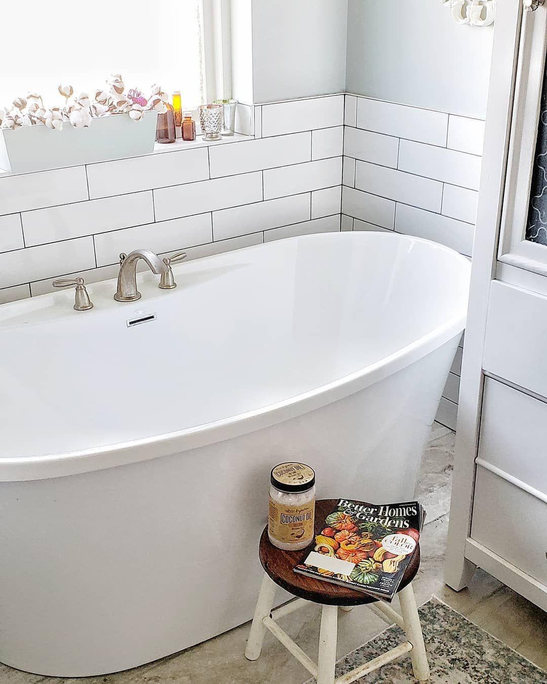 Farmhouse Bathroom Cottage Bathroom Silver Strand Stand Alone Tub