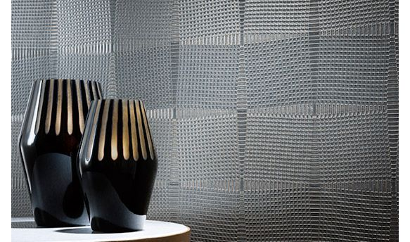 Versa's Lorenzo offers up an eye-catching 3D effect for the wall with intricate embossing. The multi-faceted fabrication continually morphs with changing light and viewpoints.