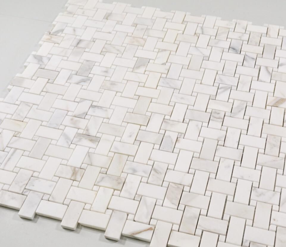 Calacatta Calcutta Gold Marble Tile Basketweave Pattern Mosaic Tilebuys Calcutta Gold Marble Basket Weave Tile Shower Floor Tile