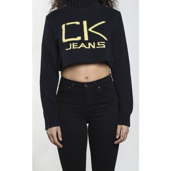 Vintage Calvin Klein Crop Knit Sweater (870 MXN) ❤ liked on Polyvore featuring tops, sweaters, cropped knit sweater, vintage knit sweater, knit crop top, calvin klein tops and cropped sweaters