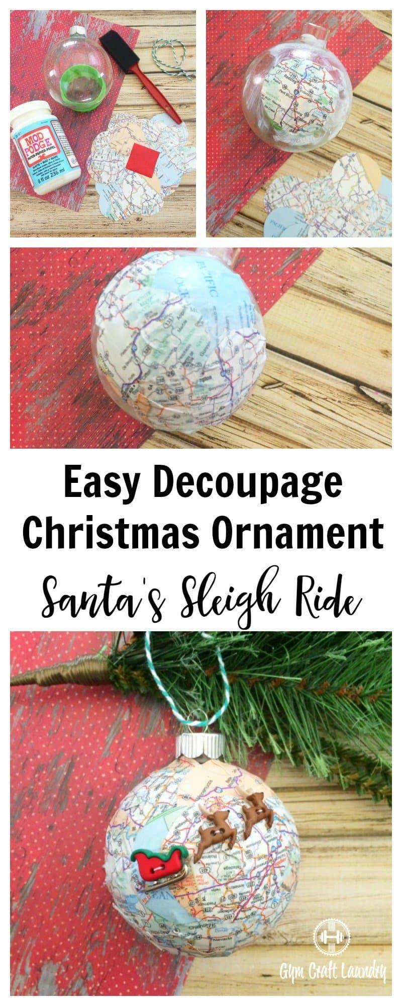 Easy Decoupage Santa\u0027s Sleigh Map Ornament