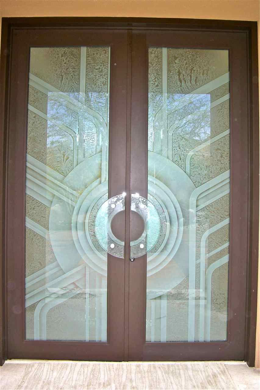 Etched glass door geometric art deco contemporary glass for Art glass windows and doors