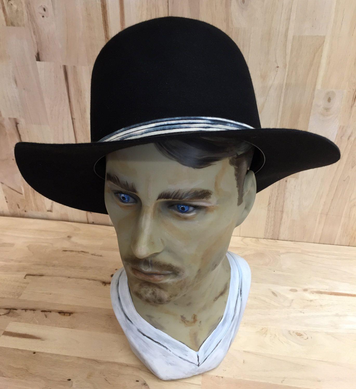 065b46982b2 100% beaver fur felt black open crown hat with tie-dye felt accent by  hatWRKS on Etsy