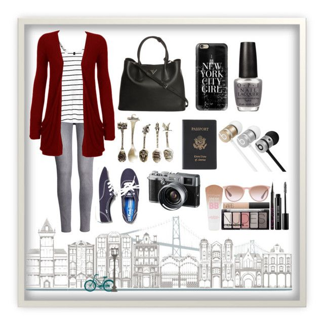 """""""Touring the City"""" by okapi25 ❤ liked on Polyvore featuring H&M, WearAll, WallPops, Keds, Prada, Casetify, OPI, Fuji, Royce Leather and Beats by Dr. Dre"""