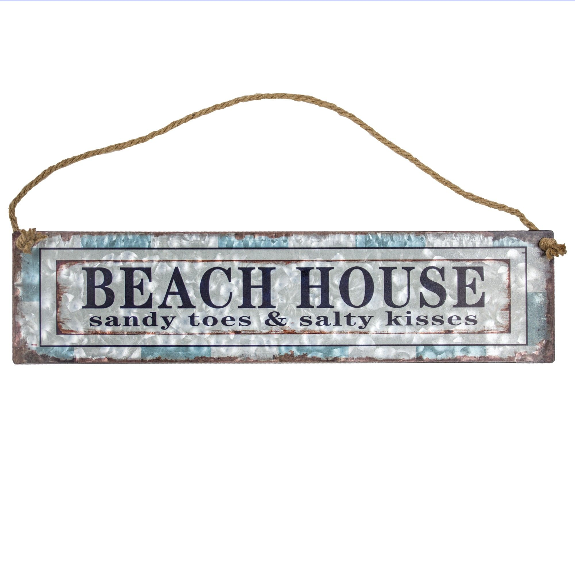Beach House Galvanized Metal With Rope Hanger Wall Decor E2 Concepts Adult Unisex Beach Wall Decor Beach House Decor Beach House Signs