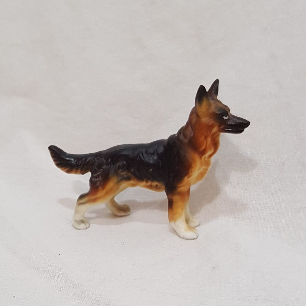Dog German Shepard Miniature Figurine Ceramic Black Brown 1 Puppy